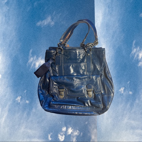 COACH Bag (No.18717) Blue Leather North South Tote